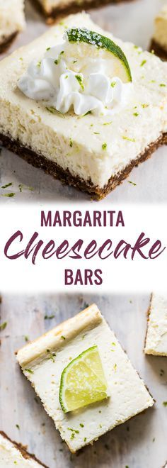 These Margarita Cheesecake Bars are creamy, made with a touch of tequila and sit on a buttery graham cracker crust. #cheesecake #dessert