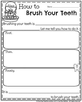 FREE Writing Prompts - How to Brush Your Teeth Informative Organizer.