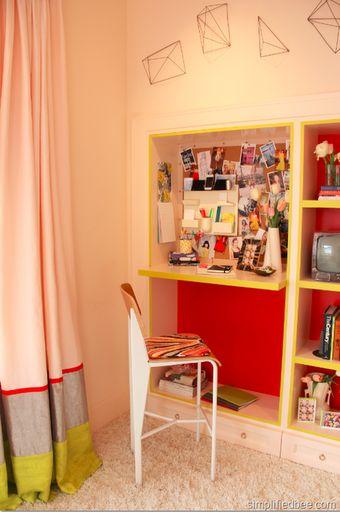built-in neon desk in teen room designed by Em Design