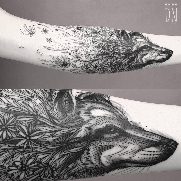 Sketch work/surrealist style floral wolf tattoo. By Dino Nemec
