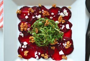 Beetroot Carpaccio with Caramelised Walnuts, Rocket & Feta