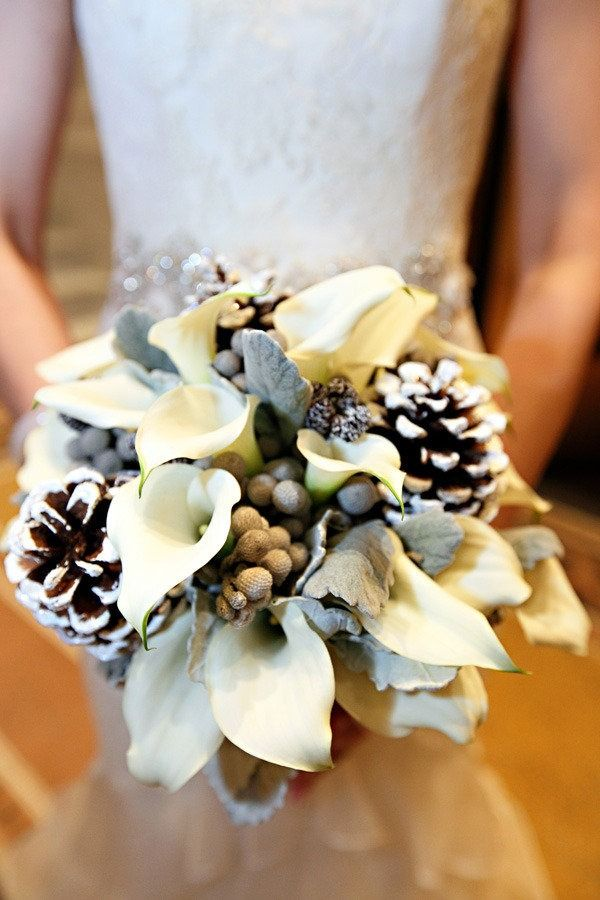 Winter wedding bouquet - not sure I love the Calla lilies but I do love the idea of incorporating pinecones!