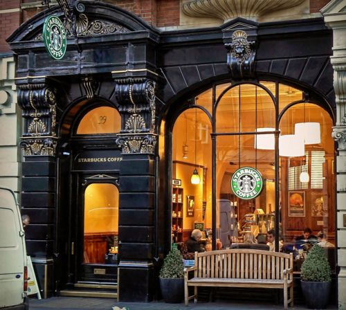 Starbucks, Leicester Square~ London, England-doesn't look like any Starbucks I've ever seen.