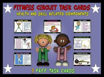 Fitness Circuit Task Cards- 7 Free Cards   Task cards ...