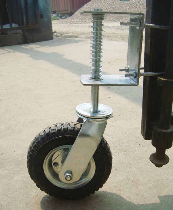 Open your heavy wood or steel gate easily without any sagging or dragging by installing this 8in. pneumatic rubber gate wheel. Spring suspension for use on uneven ground. 210-lb. capacity. Includes installation hardware.