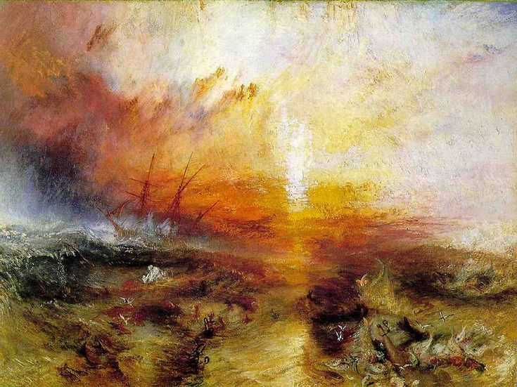 """ROMANTICISM~ JOSEPH MALLORD WILLIAM TURNER, The Slave Ship (Slavers Throwing Overboard the Dead and Dying, Typhoon Coming On), 1840. Oil on canvas, 2' 11 11/16"""" x 4' 5/16"""". Museum of Fine Arts, Boston (Henry Lillie Pierce Fund)."""