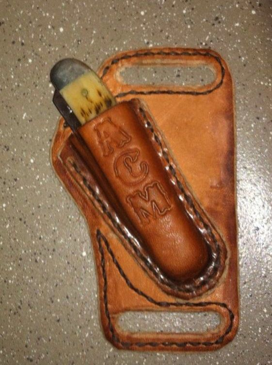 Leather knife sheath for a Case Trapper on Etsy, $22.00