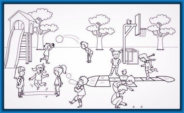 Dibujos Para Colorear Ni 241 Os Jugando En El Parque Archivos Drawing For Kids Mural Art