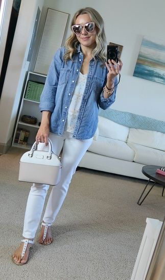 ff5b6325e5 Spring style chambray button up pastels #ootd #ShopStyle #shopthelook  #SpringStyle