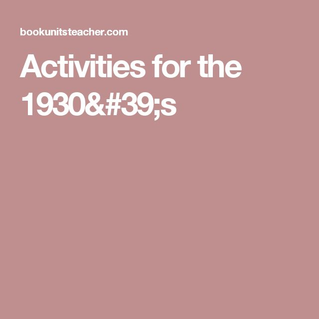 Activities for the 1930's