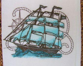 Nauticus - nave - toalla de saco de harina de cocina - Gourmet - algodón Natural