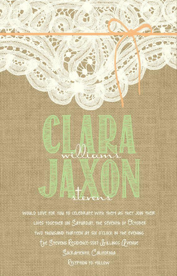 Custom Burlap and Lace Mint and Peach Wedding by Joyinvitations, $196.00