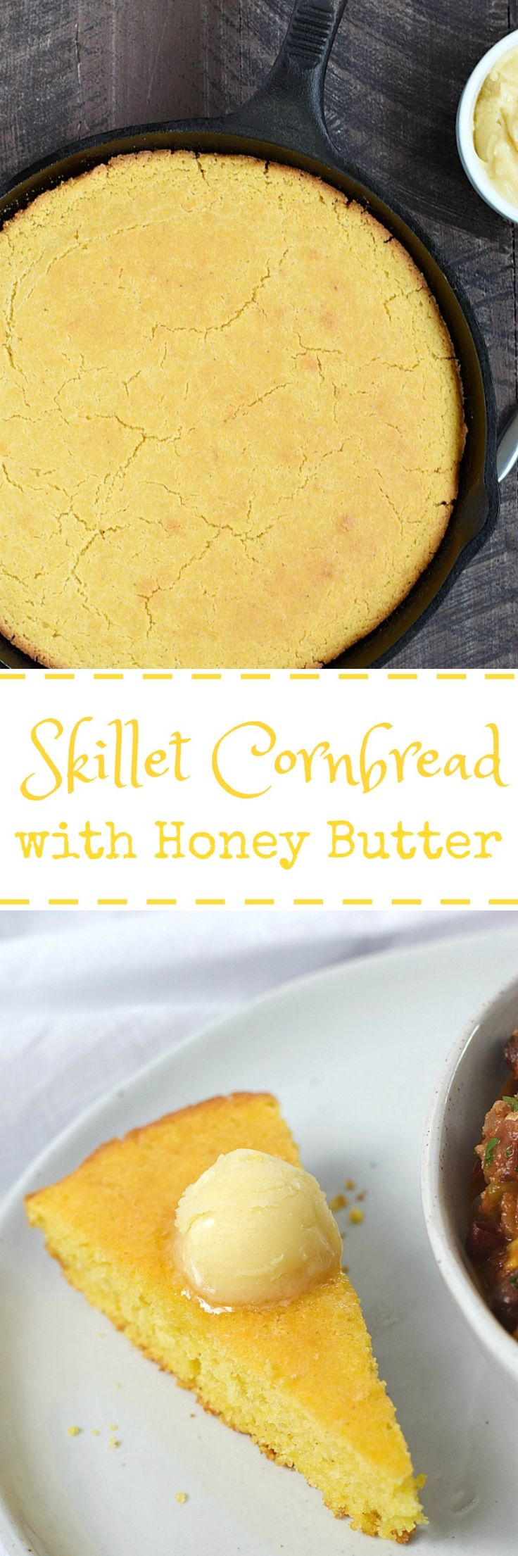 Hot and delicious Skillet Cornbread served with creamy, whipped Honey Butter is perfect along side a bowl of soup or chili | cookingwithcurls.com