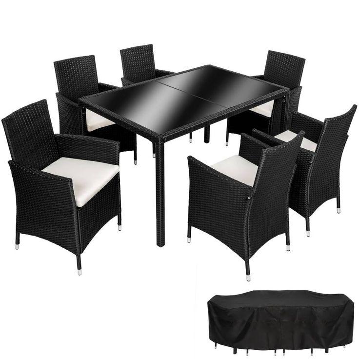 Lieblich Rattan Sitzgruppe Lissabon 6+1 Mit Schutzhülle