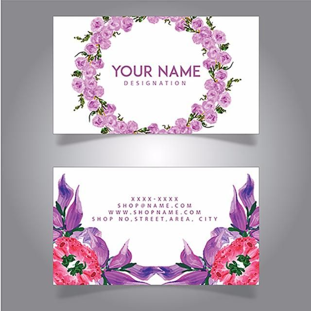 Watercolor Floral Visiting Cards Visiting Card Templates