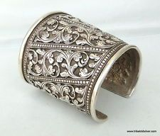 STERLING 925 SILVER CUFF BRACELET BANGLE RAJASHTAN INDIA
