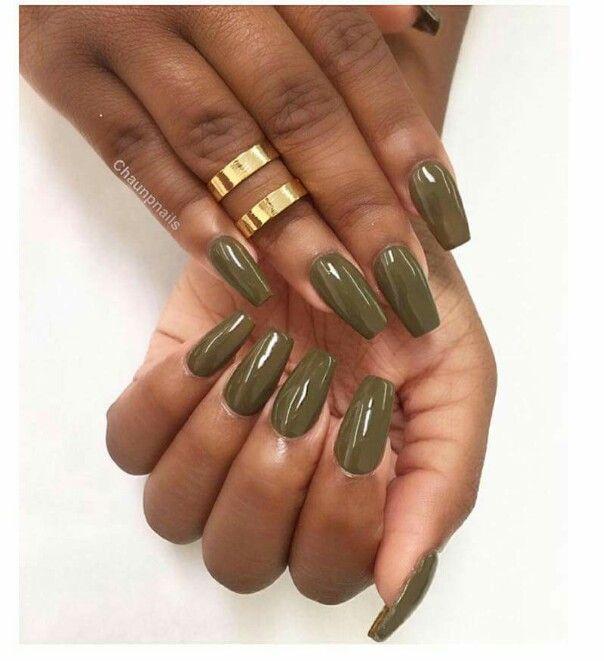 Olive Green Nails Nails Pinterest Nails Acrylic Nails And