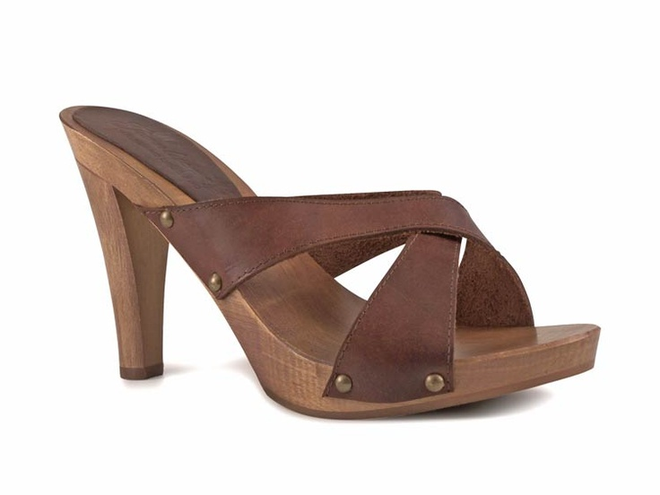 Sexy Wooden Clogs High Heels And Brown Leather Italian