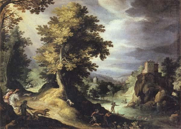 Фламандский художник Paul Bril (1554-1626).. The Stag Hunt