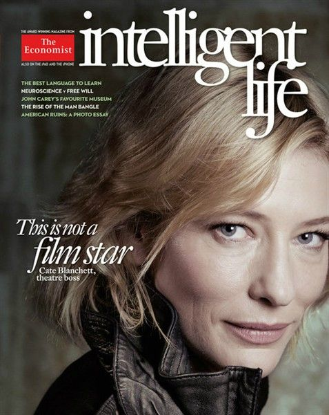 Blanchett appears on the cover in casual attire, with lines on her face exposed for the world to see.