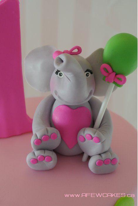 Elephant 1st Birthday Cake - by afewcakes @ CakesDecor.com - cake decorating website