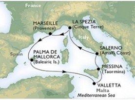 La Spezia - Marsilia - Palma de Mallorca - La Valetta - Messina - Salerno - La Spezia