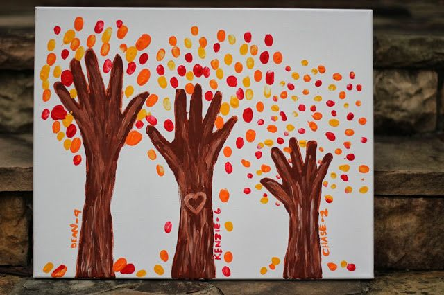 Fall tree art made with the kids hand prints and finger prints.