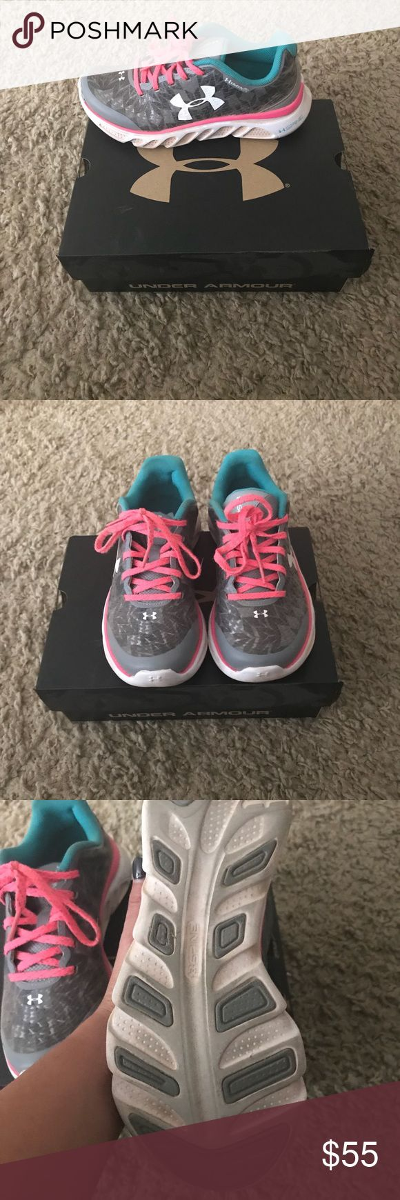 Youth under armour shoes-Flash sale! 🎉 Worn twice, also fit women's size 6. No flaws, can ship with or without the box. Under Armour Shoes Sneakers