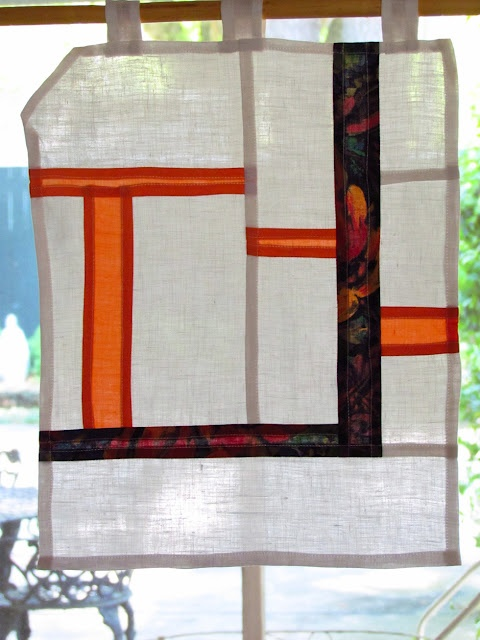 Orange and linen pojagi patchwork  wall hanging