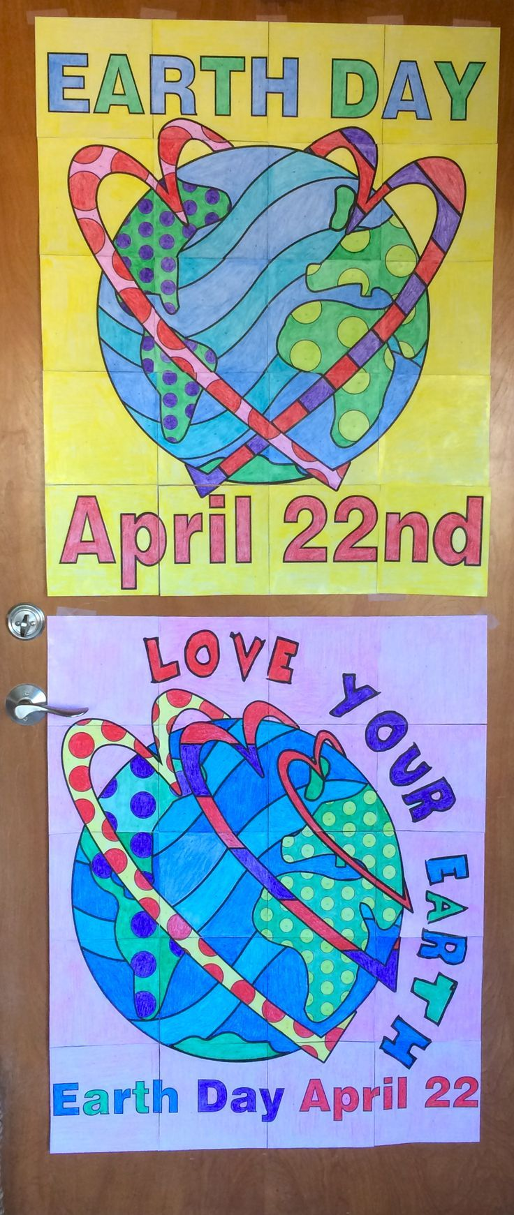 "Earth Day collaborative group posters! Each poster has 20 pieces with colors assigned per a color key. When finished the posters are approx. 29"" x 36"" each. Kid love working together to see the finished picture!"