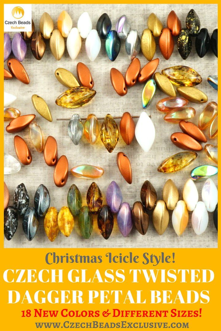 Czech Glass Twisted Dagger Petal Beads - Christmas Icicle Style!  18 New Colors, Different Sizes - 8 x 16 mm, 12 x 6 mm! - Buy now with discount!  Hurry up - sold out very fast! www.CzechBeadsExclusive.com/+twisted+dagger SAVE them!