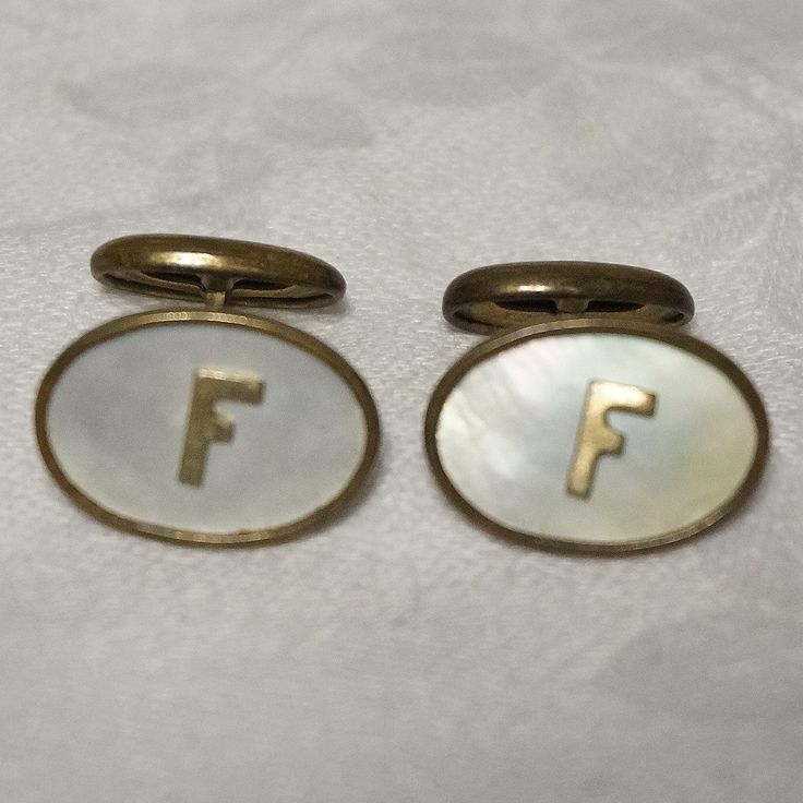 Mens Vintage Art Deco Mother of Pearl F Monogram Brass Cufflinks Cuff Links by NotSewIdle on Etsy