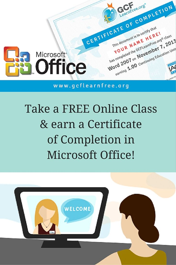 Need to improve your Office skills? Take a free online class at GCFLearnFree.org and earn a Certificate of Completion and CEU!
