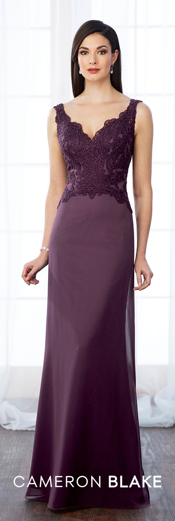Formal Evening Gowns by Mon Cheri - Fall 2017 - Style No. 217650 - sleeveless dark purple evening dress with beaded lace bodice and optional beaded illusion lace three-quarter length sleeves