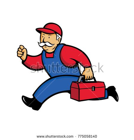 Cartoon style illustration of an aircon technician, Air Conditioning Service Technician, mechanic or repairman running with toolbox viewed from side on isolated background.  #technician #cartoon #illustration