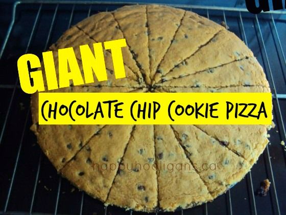 Giant Chocolate Chip Pizza Cookie Recipe - great alternative to birthday cake. So quick and easy to make, and it feeds a crowd. Happy Hooligans