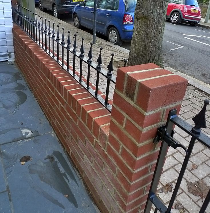 Brick Red Garden Walls Fence Balham Battersea Wandsworth Clapham Iron Gate  Rail Render London | Front Gate | Pinterest | Inspiration