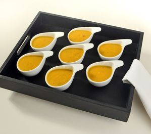 Try serving this flavourful pumpkin soup - amuse bouche style at your next fall gathering. It's an ideal way to start Thanksgiving and/or Halloween dinners.