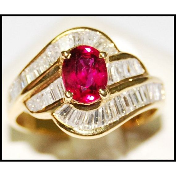 Jewelry Diamond 18K Yellow Gold Wedding Ruby Ring by BKGjewels