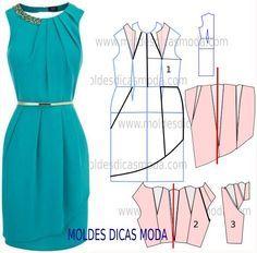 Passo a passo molde de vestido. Analise com atenção a sequência de corte para poder fazer o molde deste vestido.