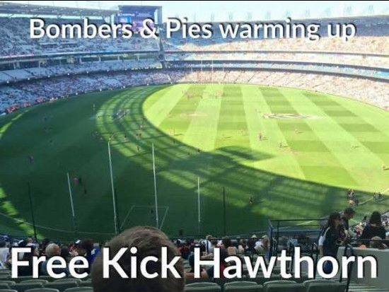 The match hasn't even started. Free Kick Hawthorn.