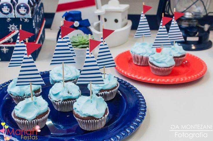 Cupcake tema Marinheiro | Festa infantil | Festa marinheiro | Decoração by Mariah festas #cupcakemarinheiro #festamarinheiro