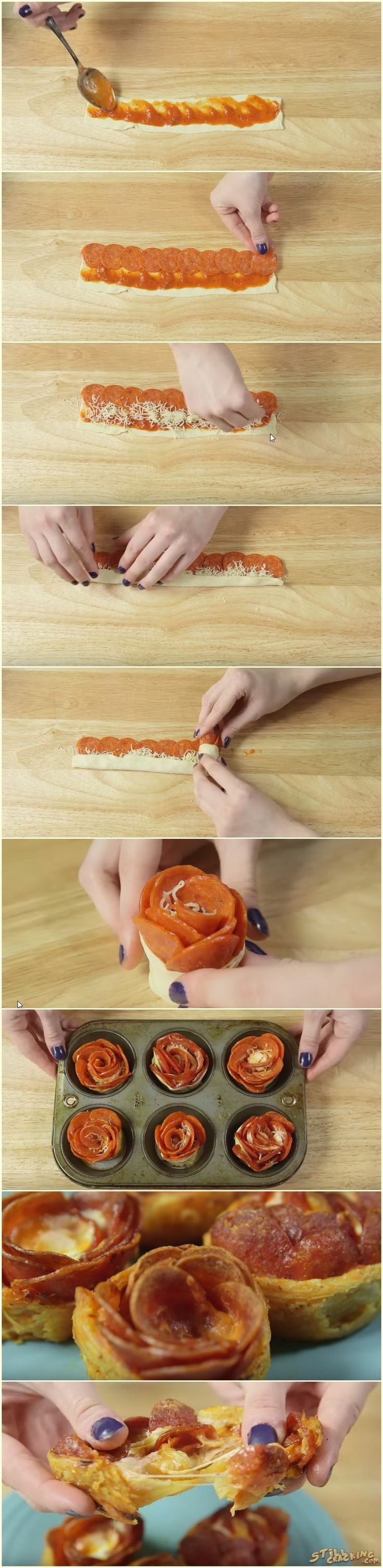 Ingredients: Pepperoni slices (about 8 per rose) Pizza sauce Pizza dough (we used Pillsbury pizza dough) Shredded mozzarella cheese Roll out your dough and cut into strips about 8 inches long and 1.5 inches wide. Try to get the dough as thin as possible. Cover lightly in pizza sauce. Place pepperoni at one end, so …