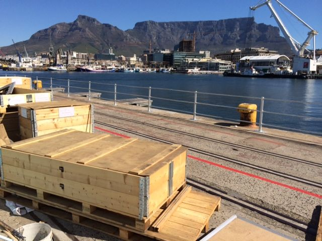 Savannah Volvo Ocean Race 2014 set up - with a backdrop of the famous Table Mountain