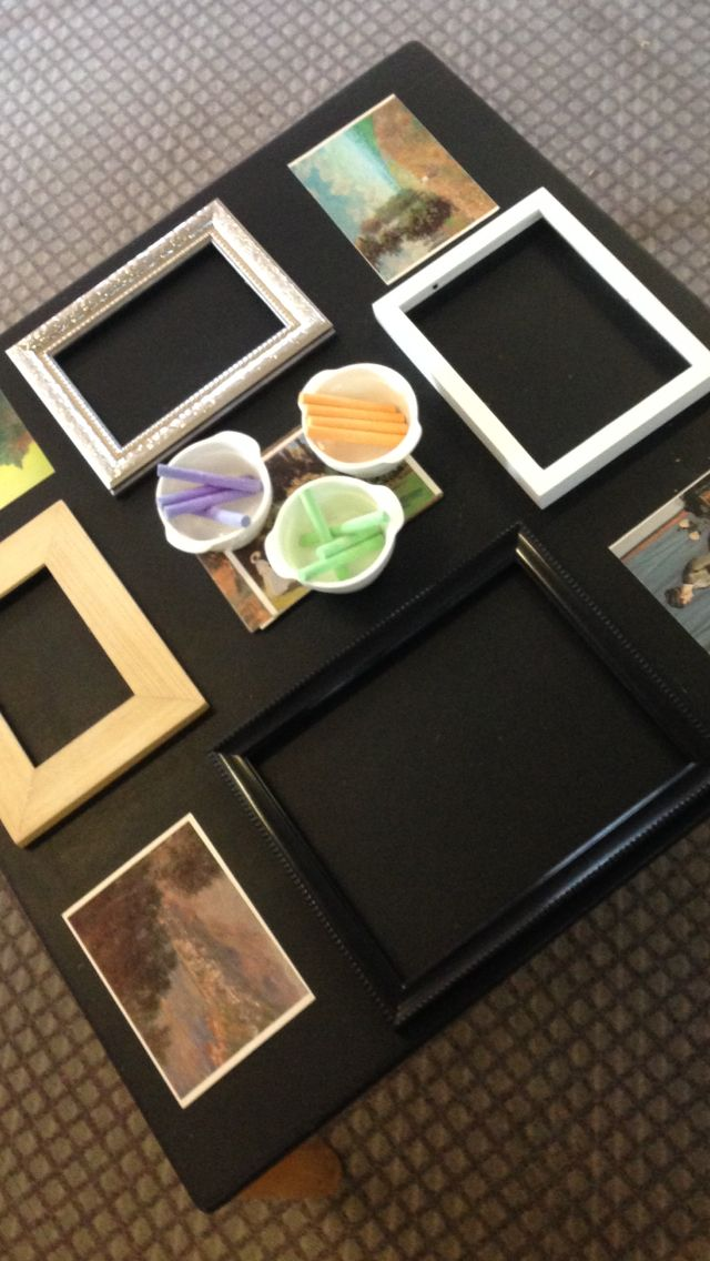 Chalkboard Table with Photo Frames