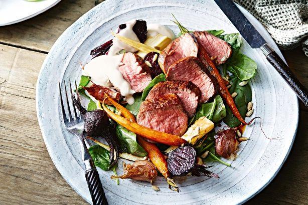 Honey-glazed lamb with smoked yoghurt and roasted root vegetables. Delicious Magazine Australia