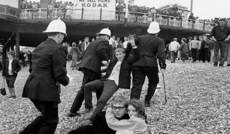 The Police Arresting the Mods and Rockers on Brighton Beach Brighton East Sussex England in Late May Spring Bank Holiday in 1964