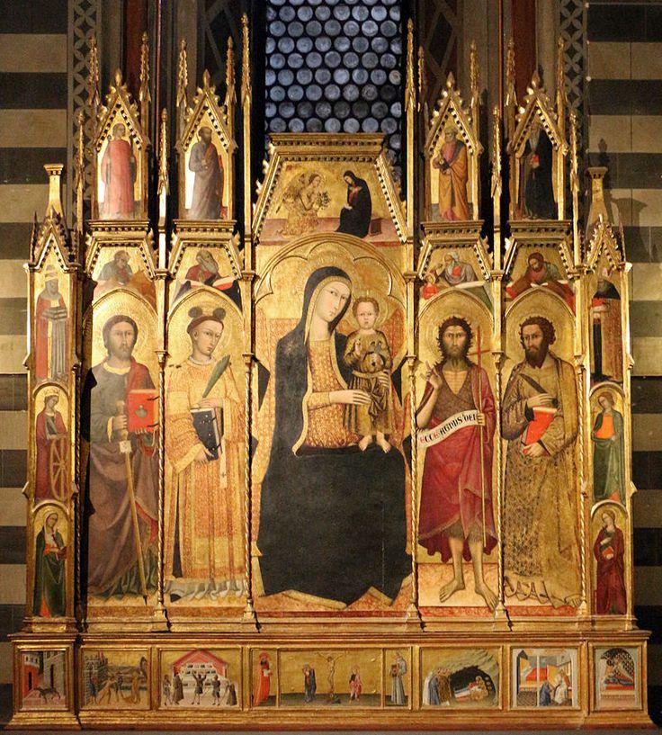 Andrea Vanni - Madonna col Bambino e Santi - 1400 ; Paolo di Giovanni - predella polittico - 1450; Siena, Battistero di San Giovanni