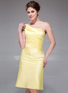 A-linjainen/Prinsessa Yksiolkaiminen Polvipituinen Satiini Morsiusneitojen mekko jossa Rypytys (007037220) - JenJenHouse