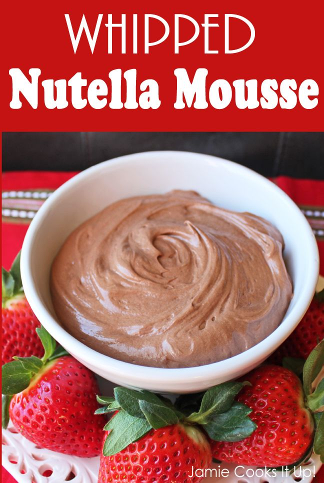 Whipped Nutella Mousse - super simple: 3 ingredients. Use it as a fruit dip, crepe filling, or in a bowl with a spoon!